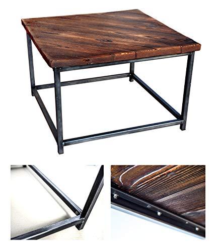 CHYRKA Couchtisch Wohnzimmertisch SAMBOR Loft Vintage Bar Industrie Design Handmade Holz Metall (60x60 cm - Natur - Diagonal)
