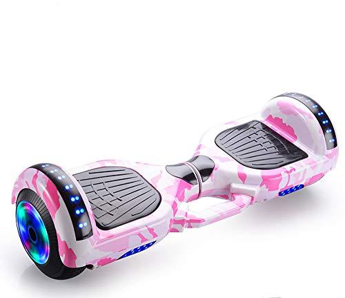 Scooter eléctrico inteligente de equilibrio automático con altavoz inalámbrico incorporado Polvo de camuflaje inteligente Bluetooth, Hoverboard para niños de 6 a 12 años,Camouflage powder,7 inches