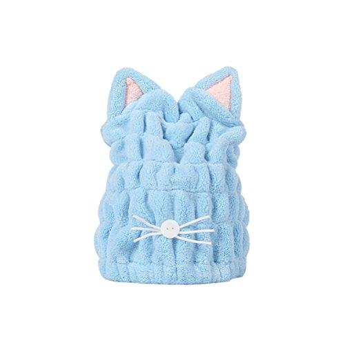 Frcolor Cheveux Séchage Serviette Sèche Cheveux Cap Séchage Rapide Cheveux Serviette Wrap Chat Oreille Turban (Bleu)