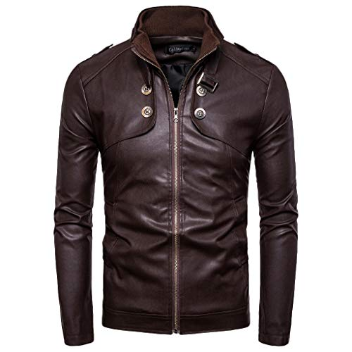 Brizz Leren mantel voor heren, lange jas, herfst, winter, warm, windjack, herenmode, punk-kleding, sportkleding, retro, omlegkraag, modieus, motorkleding, solide kraag jassen
