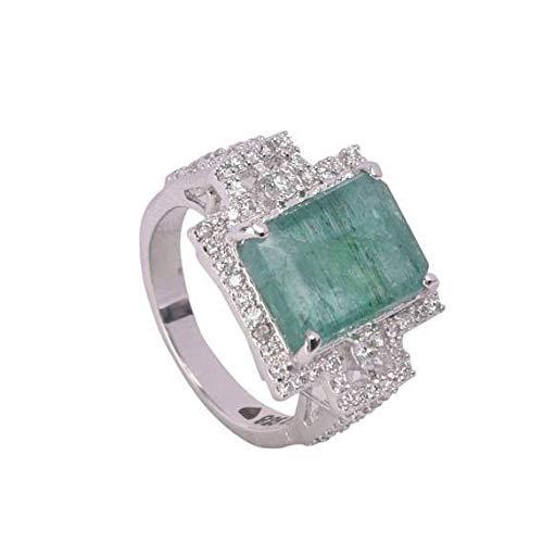 Anillo de piedras preciosas esmeralda verde natural Anillo de esmeralda colombiana 925 plata esterlina
