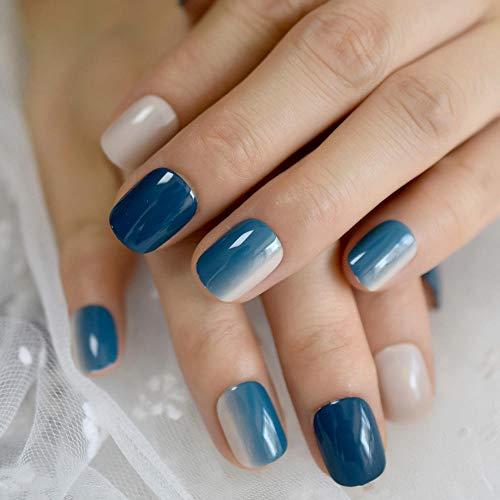 DCJ® Falsche Nägel Natürlicher Fehler des blauen falschen Nagelgels mit kurzem Farbverlauf, der auf die vollständige Fingernageltechnik des Nagelmädchens gedrückt Wird