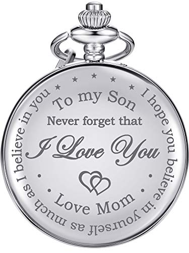 Hicarer Pocket Watch Gift for Son-Never Forget That, I Love You, Love Mom-from Mother to Son Pocket Watch with Chain