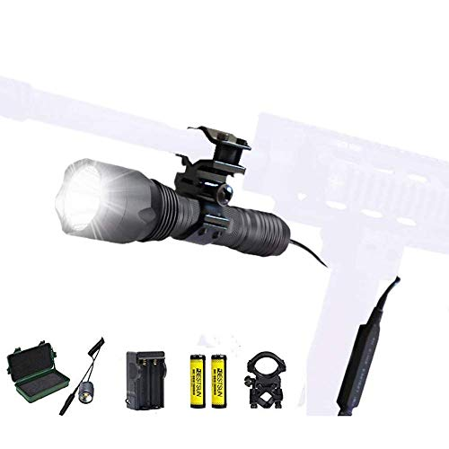 BESTSUN Tactical Flashlight 1200 Lumens Super Bright Cree XM-L2 LED Flashlight Waterproof Single Mode Hunting Light with Barrel Mount, Pressure Switch, Rechargeable Batteries and Charger