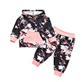 Bebé Niña Sudadera Conjunto Tie Dye Impreso Manga Larga Casual Canguro Bolsillo+Pantalones Trajes Otoño Ropa Conjunto - - 18-24 meses