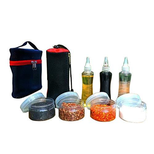 Buding Juego de 7 botes de especias de acero inoxidable con bolsa de transporte, para exteriores, de plástico, para condimentos, botellas, sal, pimentero, coctelera, especias, con bolsa