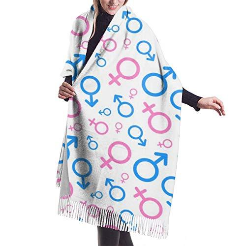Damen Wickeldecke Schal, Männer und Frauen Piktogramme Mars Venus weicher Schal Schal Kaschmir Winterschal für Frauen Männer