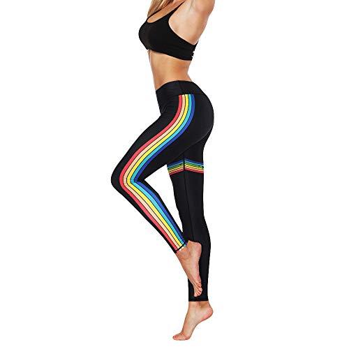 Sunenjoy Legging de Sport Taille Haute Femme Pantalon de Yoga Running Jogging Fitness Pants Crayon Arc en Ciel Rayure Slim Fit Skinny Mode Sexy Grande Taille S-XL