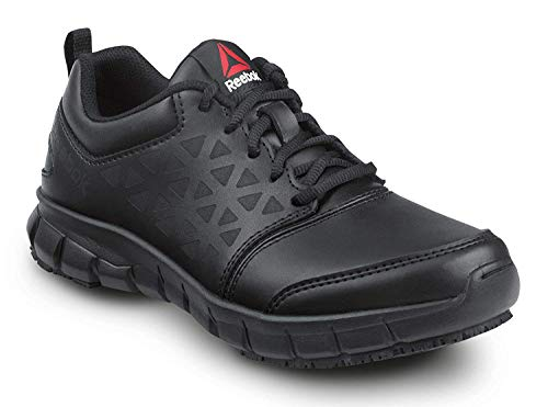 Reebok Work Sublite Cushion Work, Black, Women's, Athletic Style Slip Resistant Soft Toe Work Shoe (6.5 M)