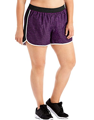 Just My Size Women's Plus Size Active Woven Run Short, Spot on Plum Dream, 1X