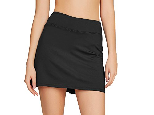 Cityoung Women's Casual Pleated Tennis Golf Skirt with Underneath Shorts Running Skorts bk XL Black