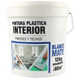 Pintura Plástica Blanca Mate Interior 8L/12Kg Rendimiento 65㎡