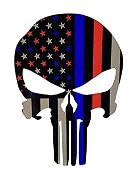 Skull Thin Red Blue Line Flag Decal - American Flag Reflective Sticker for Cars Trucks - Support Police Firefighter Law Enforcement Officers