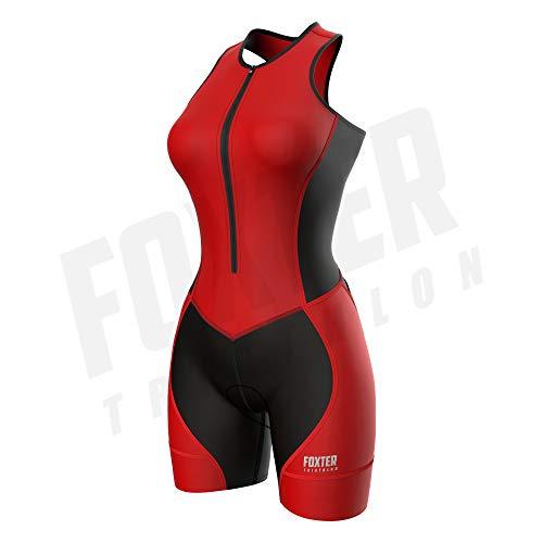 Foxter Triathlon-Anzug für Damen – Triathlon-Rennanzug – Damen Tri-Anzug gepolstert – Triathlon-Einteiler Skinsuit, rot, XXL
