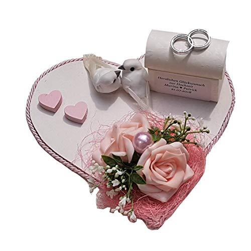 Der-kleine-Dekoladen Geldgeschenk zur Hochzeit rosa mit Tauben Hochzeitsgeschenk Flitterwochen