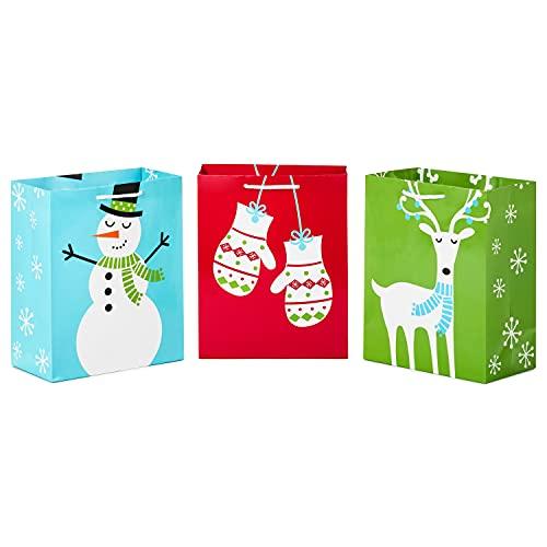 Hallmark 9' Medium Holiday Gift Bags (Pack of 3: Mittens, Snowman, Reindeer) for Christmas, Hanukkah, Birthdays and More
