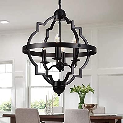 Riomasee 4-Light Orb Chandelier Rustic Farmhouse Chandeliers Industrial Black Metal Chandelier Dining Room Lighting Fixtures Hanging for Foyer,Dining,Living Room