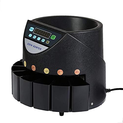 45W Contador de Monedas Euros 220V Clasificador Electrónico de Monedas Contar 500-1000 Moneda de 1 Centavo a 2 Euros con Pantalla LED Coin Counter
