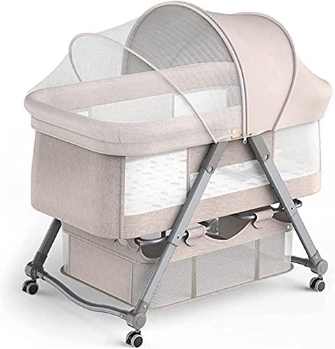 ZGYZ Cuna para Dormir Junto a la Cama,Cama elevadora para bebés,Ventana de Malla Transpirable,Cuna para bebés recién Nacidos,cunas con un Clic,Amarillo