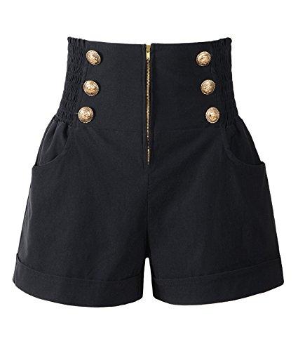 Penelope Vintage Damen 50er Jahre Retro Rockabilly Stil High Waist Pinup Shorts - Schwarz - X-Groß