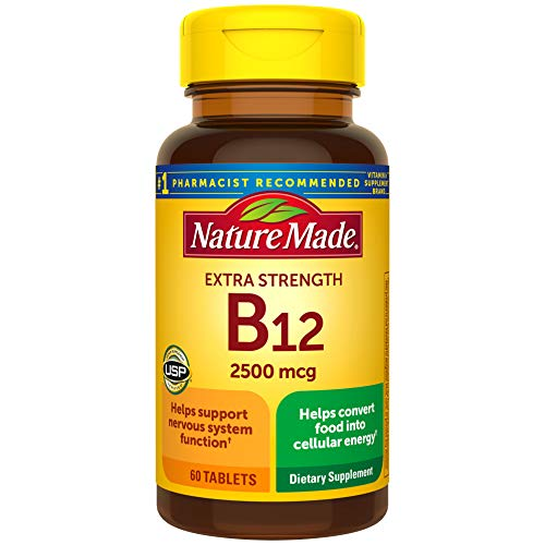 Nature Made Extra Strength Vitamin B12 2500 mcg Tablets, 60 Count (Packaging May Vary)