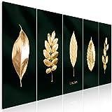 decomonkey Bilder Pflanzen Gold 200x80 cm 5 Teilig