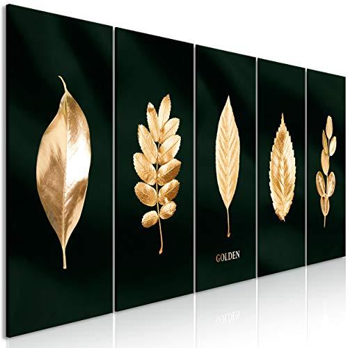 decomonkey Bilder Pflanzen Gold 200x80 cm 5 Teilig Leinwandbilder Bild auf Leinwand Vlies Wandbild Kunstdruck Wanddeko Wand Wohnzimmer Wanddekoration Deko Plante Blätter Modern