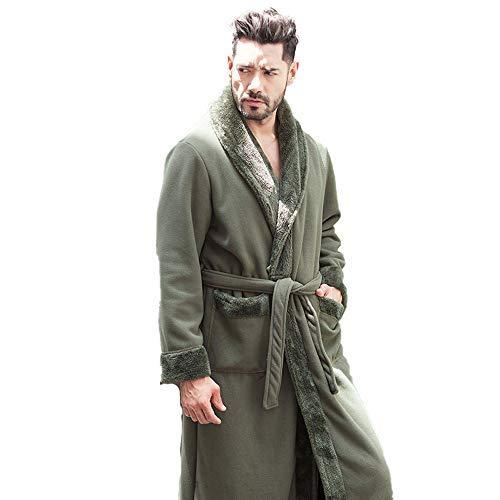 GNLIAN HUAHUA Homewear Pareja de Invierno Polar Pijamas Pijamas Mujeres Espesado Army Men Albornoz Albornoz Pijamas Unisex Verde Suave estupendo Homewear, Hombres, M Vendaje