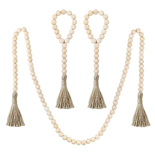Ling & Bai 3 Pcs Wood Bead Garland with Tassel Rustic Farmhouse Country Wooden Beads Wall Hanging Decor Decoration (B)