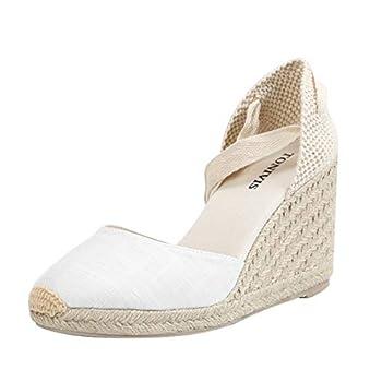 Women's Platform Wedges Espadrilles 3  Wedge Soft Ankle-Tie Strap Closed Toe Classic Summer Sandals White 7 size