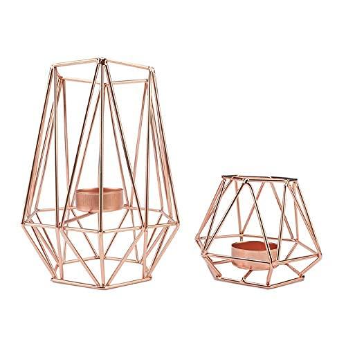 Dulcicasa Candelabro geométrico 3D, portavelas de Oro Rosa, portavelas, candelabro Vintage, decoración...