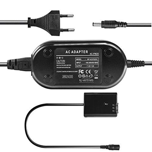 kj-vertrieb Netzteil mit Akkuadapter ersetzt AC-PW20 für Sony Alpha 3000, 5000, 6000, NEX-C3, NEX-6, NEX-5T, NEX-5K, Cybershot DSC-RX10-7,6V 2A
