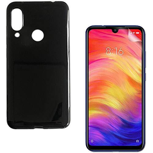 Capa Preta Fumê Xiaomi Redmi Note 7 + Película Gel Silicone Flexível Ultra Fina 100% Tela