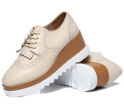 DADAWEN Women's Fashion Tassels Square-Toe Lace-up Platform Wedge Oxford Shoes Beige US Size 8