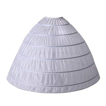 AnDream Full A-line 6 Hoop Petticoat for Women Underskirt Slip Crinoline for Bridal Dress PT06-WH White