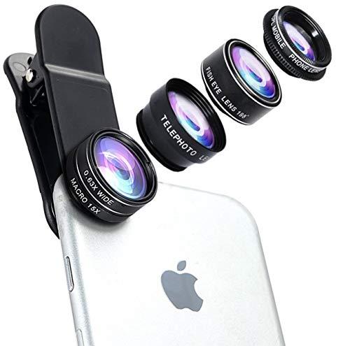 Wolffilms Set de Objetivos 5-en-1 para Tablets y teléfonos Inteligentes de Apple, Samsung, Huawei etc. [Incluye un Objetivo Fisheye, Macro, teleobjetivo, Gran Angular y Filtro polarizador]