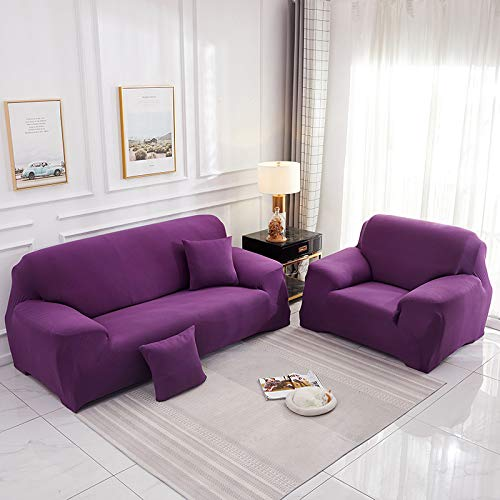 NOBCE L Shape Couch Cover Solid Color Corner Sofa Cover For Living Room Elastic Spandex Slipcovers Stretch Sofa Towel Dark Purple 235-300CM