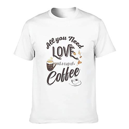 Herren Baumwoll-T-Shirt Kaffee ist Mein Valentinstag Neuheit lustig Moderne Passform - Muster Oberteile White 5XL
