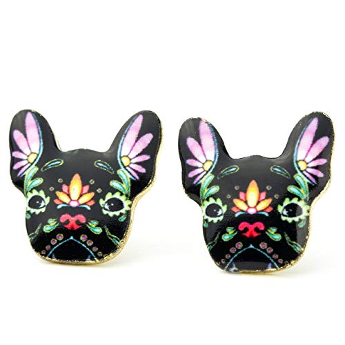 French Bulldog Earrings: Dog Stud Earrings for Women and Girls Colorful Cartoon Print (Black)