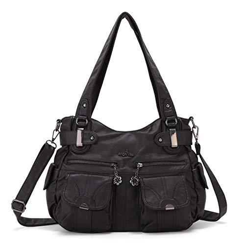 Angelkiss Women's Designer Handbag Large Double Zipper Multi Pocket Washed, Black