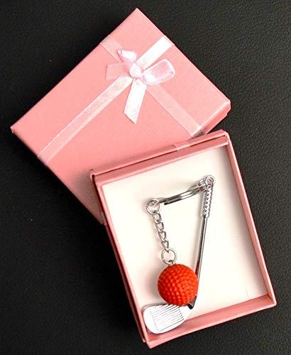 KILLAGOLF - toller Schlüsselanhänger - Miniatur Golfschläger mit Ball - schönes Golfgeschenk- 6 Farben zur Auswahl in sehr schöner Schmuck-Geschenkbox (Roter Ball - Pinke Box)