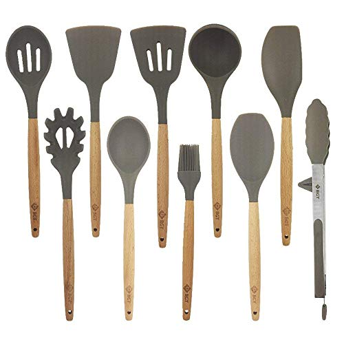 BGT Cooking Utensil Sets,10 Pcs Silicone Kitchen Cooking Utensils Sets, Wooden Handles Kitchen Gadgets Utensils Set for Nonstick Cookware, BPA free (Gray) (10pcs)