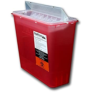 5 Quart Size   OakRidge Products Sharps Disposal Container   TouchFree Disposal