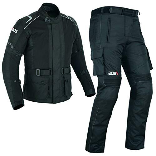BOS Schwarze- Motorradkombi Jacke+Hose Textil Mit Protektoren-Wasserdicht (2XL)