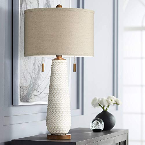 Kingston Mid Century Modern Table Lamp White Ceramic Taupe Drum Shade for Living Room Bedroom Bedside Nightstand Office Family - Possini Euro Design