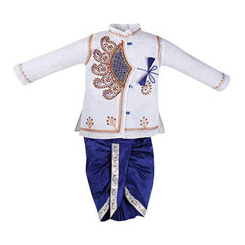 CorpWed Kids Traditional Ethnic Festival Wear Dhoti Kurta Set for Baby Boys (Multicolour, 6-12 Months)