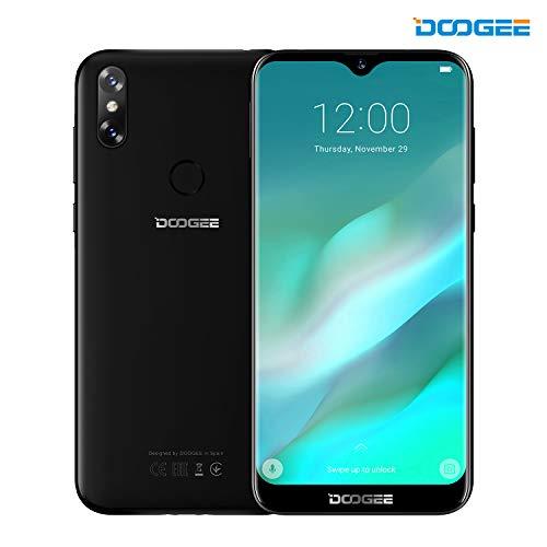 "Smartphone Pas Cher, DOOGEE Y8 4G Double SIM Smartphone, 6.1"" HD 19:9 Écran, Android 9 Telephone, 8.0MP+5.0MP Caméra, 3GB RAM + 16GB ROM, MT6739 Quad-Core - 3400mAh - Noir"