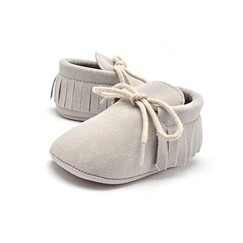 Morbuy Baby Schuhe, Niedlich Baby Säugling Kind Junge Mädchen weiche Sohle Kleinkind Schuhe Quaste Gummiband (0-6 Monate/11CM/4.33Inches, Grau)