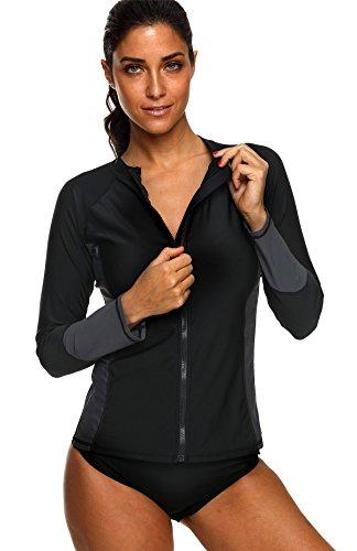 Charmo Damen Rash Guard UV-Schutz (UPF 50+) mit Reißverschluss Rash Vest Sonnen Schutz Schwarz L