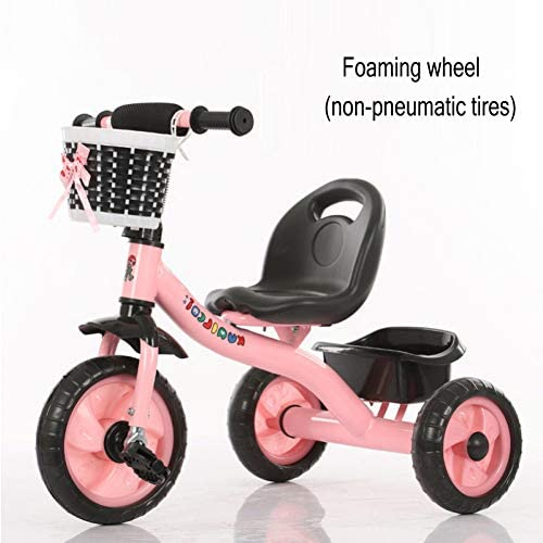 GIFT Dreirad Kinder Fahrrad 3 Rad Fahrrad Kinderwagen Kinderwagen, Abnehmbare Schubstange, Eva Weißhes Rad, 2-6 Jahre Alt Spielzeug Geschenk,C